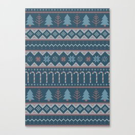 Chistmas Sweater in Blue Canvas Print
