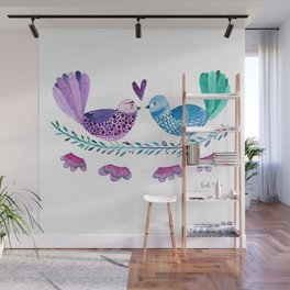 Birds in love with flowers and leaves Wall Mural