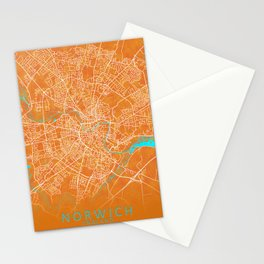 Norwich, England, Gold, Blue, City, Map Stationery Cards