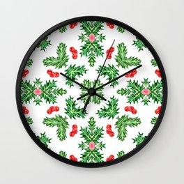 Holly Jolly Christmas Kaleidoscope (Small Pattern) Wall Clock