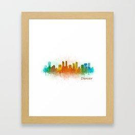 Denver Colorado City Watercolor Skyline Hq v3 Framed Art Print