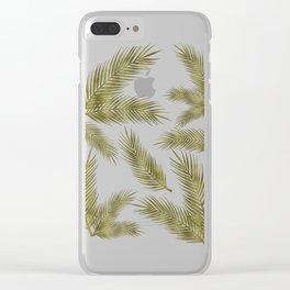 Green Gold Glitter Tropical Leaves Clear iPhone Case