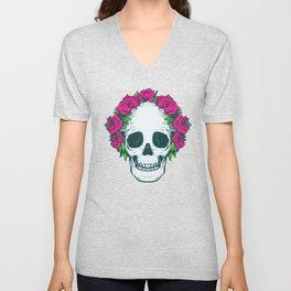 Hippie Flowers in my Hair Rosy Dios De Los Muertos Sugar Skull Unisex V-Neck
