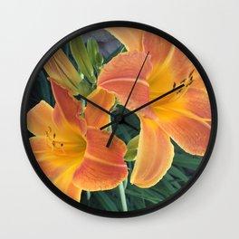Garden Blooms - Orange Wall Clock