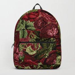 Vintage  & Shabby Chic - Dark Red Roses Retro Pattern Backpack