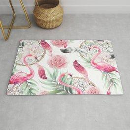 Flowered boho with flamingos Rug