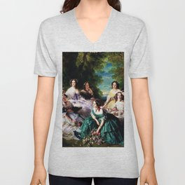 "Franz Xaver Winterhalter's masterpiece ""The Empress Eugenie surrounded by her Ladies in waiting"" Unisex V-Neck"