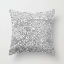 Silver London map Throw Pillow