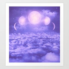 Uncertain. Alone. Cratered by Imperfections. (Loyal Moon II) Art Print