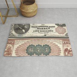 1882 U.S. Federal Reserve Five Dollar Warren, Rhode Island Bank Note Rug