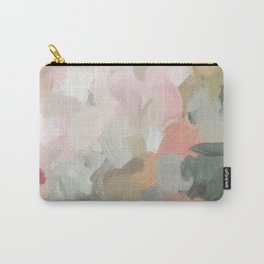 Forest Green Fuchsia Blush Pink Abstract Flower Spring Painting Art Carry-All Pouch