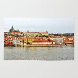 Vltava river and Prague Castle panorama Rug