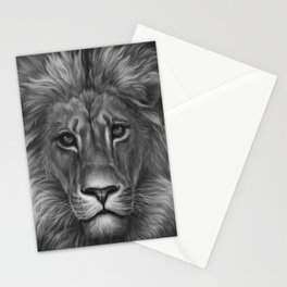 Animal Painting | Lion Portrait | Black and White | black-and-white | bw Stationery Cards