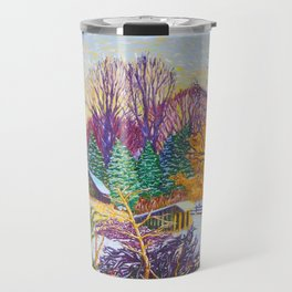 Horse Shed in Winter Travel Mug