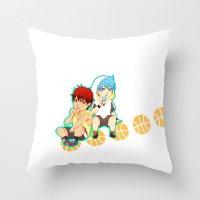 kuroko Throw Pillows featuring kagami taiga and kuroko tetsuya by angryorangecat