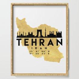 TEHRAN IRAN SILHOUETTE SKYLINE MAP ART Serving Tray
