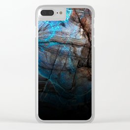 Deep Blue Marble - Ombre black Clear iPhone Case