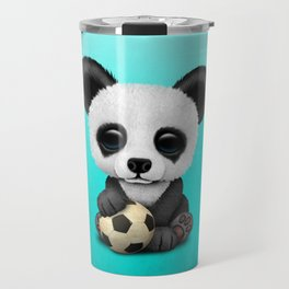 Cute Baby Panda With Football Soccer Ball Travel Mug