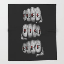 FREE FIST BUMP / Photograph of grungy fists with tattooed knuckles Throw Blanket