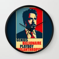 robert downey jr Wall Clocks featuring Robert Downey Jr - The Legend by Mental Activity