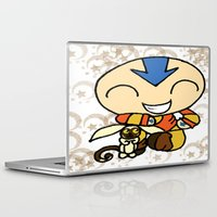 aang Laptop & iPad Skins featuring PowerPuff Aang by auroranq