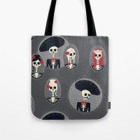 dia de los muertos Tote Bags featuring Dia de Los Muertos by Julie's Fabrics & Thingummies