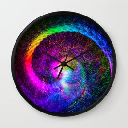 Spiral tie dye light painting Wall Clock