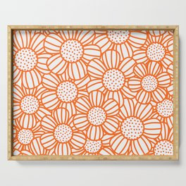 Field of daisies - orange Serving Tray