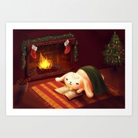 Chubby bunny by the fireplace Art Print
