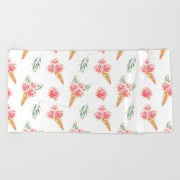 Floral Chill Rose Beach Towel