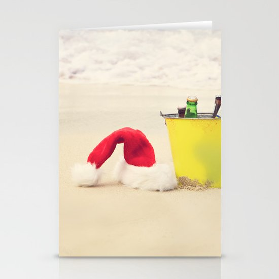 Santa Hat and Beach Beverage Stationery Cards