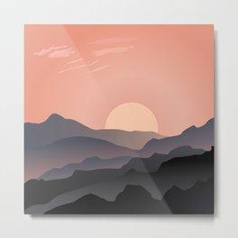 Sunset Mountain Illustration Metal Print