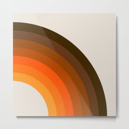 Retro Golden Rainbow - Right Side Metal Print