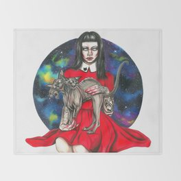 Te sphynx galaxy Queen Throw Blanket