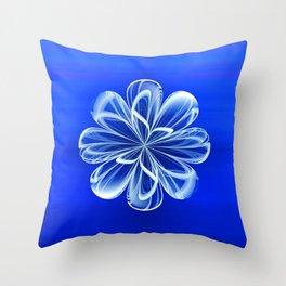 White Bloom on Blue Throw Pillow