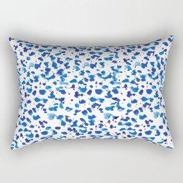 Blue Brush Stroke Watercolor Pattern Rectangular Pillow