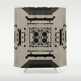 Beige and Black Perspective Shower Curtain