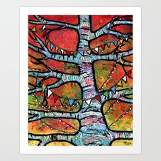 Sharing Prayers for Peace - Prayer Flags in Tree  Art Print