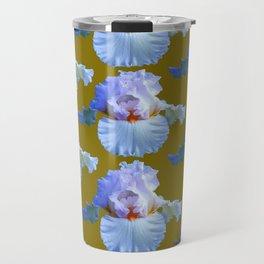 BLUE-WHITE PASTELS IRIS GARDEN REPLICATES  IN AVOCADO Travel Mug