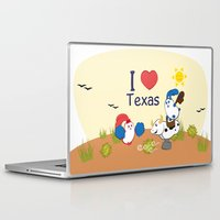 coraline Laptop & iPad Skins featuring Ernest and Coraline | I love Texas by Hisame Artwork