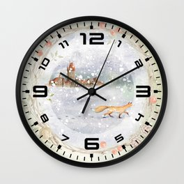 Christmas vintage fox Wall Clock