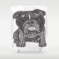 english bulldog Shower Curtains featuring  Inspired English Bulldog by DiAnne Ferrer