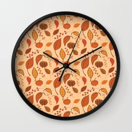 Leaves and pumpkins Wall Clock