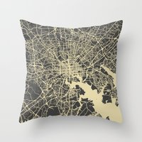 baltimore Throw Pillows featuring Baltimore map by Map Map Maps
