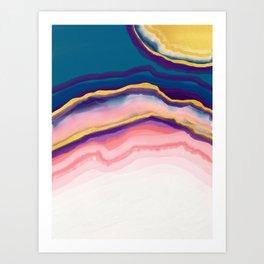 Coral Blue agate Art Print