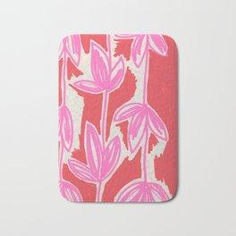 Red and Pink Sketchbook Botanical Bath Mat