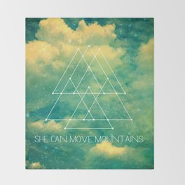 She Can Move Mountains Throw Blanket