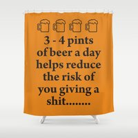 beer Shower Curtains featuring Beer by cocksoupart