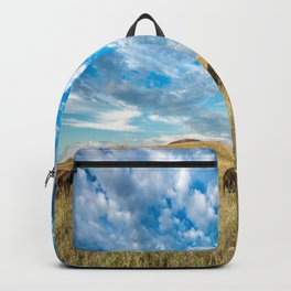 Grazing - Bison Graze Under Big Sky on Oklahoma Prairie Backpack