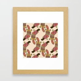 duck-billed platypus linen Framed Art Print